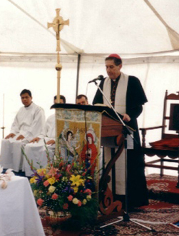 Archbishop Hickey giving his address